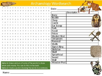 2 x Archaeology Wordsearch Puzzle Sheets Starter Activity Keywords Geology