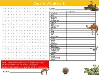 2 x Deserts Wordsearch Puzzle Sheet Keywords Homework Geography Landscapes