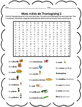 2 x Fun French Thanksgiving Word Searches