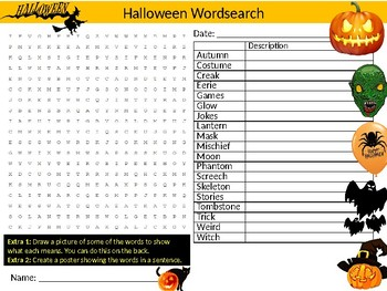 2 x Halloween Wordsearch Sheet Starter Activity Keywords Ghosts Monsters