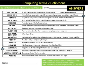 2 x ICT Key Terms Definitions Matchup Puzzle Sheet Keywords Computer Science