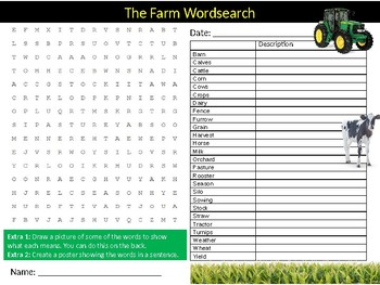 2 x The Farm Wordsearch Puzzle Sheet Keywords Homework Farming Nature
