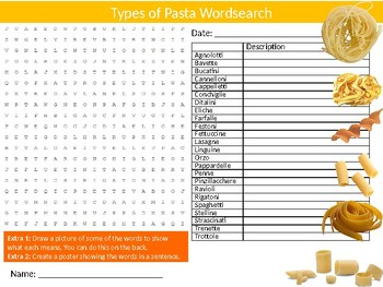 2 x Types of Pasta Wordsearch Puzzle Sheet Keywords Homework Food Nutrition