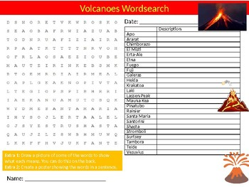 2 x Volcanoes Wordsearch Sheet Starter Activity Keywords Geography Science