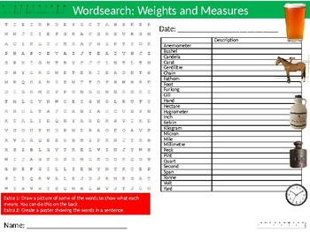 2 x Weights and Measures Wordsearch Puzzle Sheet Keywords Math Mathematics