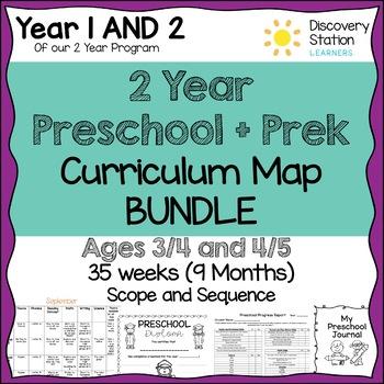 2 year Preschool Pre-K Curriculum Map BUNDLE