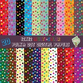 20 12x12 Multi-Color Polka Dot Digital Papers