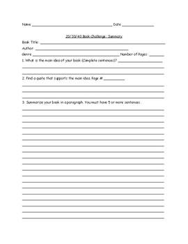 20/30/40 Book Challenge Resource