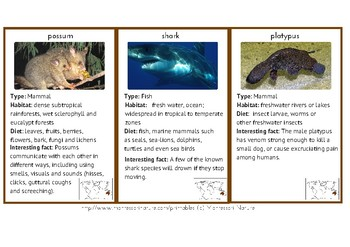 20 ANIMALS OF AUSTRALIA / OCEANIA 3 - PART MONTESSORI CARDS + INFORMATION CARDS