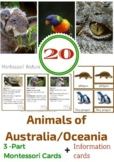 20 ANIMALS OF AUSTRALIA / OCEANIA 3 - PART MONTESSORI CARD