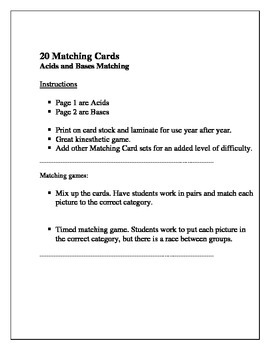 20 Acids and Bases Matching Activity