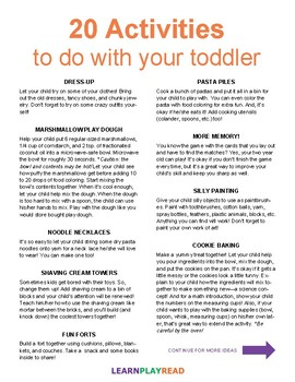 20 Activities To Do With Your Toddler