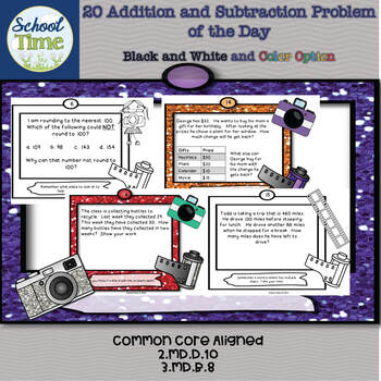 20 Addition and Subtraction Problems of the Day - Color and B/W Set included