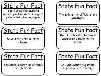 20 Alaska State Fact Flashcards. 1st Grade-7th Grade