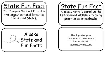 20 Alaska State Fact Flashcards. 1st Grade-7th Grade
