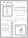 20 All About the Number Printable Worksheets.  PreK-1st Gr