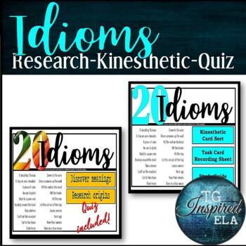 20 American Idioms 6 Activity BUNDLE: Kinesthetic Research Quiz