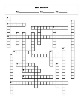 20 Answer Science Fiction Robots in Literature and Film Crossword with Key