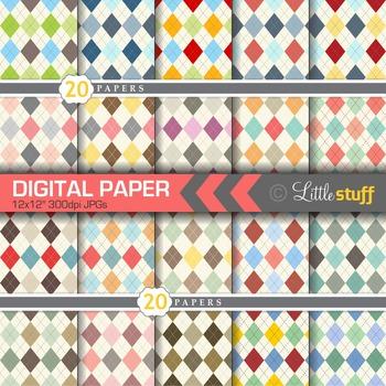 20 Argyle Digital Papers, Argyle Digital Backgrounds