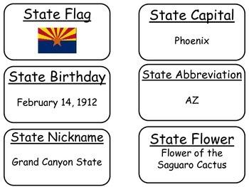 20 Arizona State Fact Flashcards. 1st Grade-7th Grade