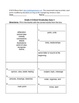 20 Critical Vocabulary Scaffolded Assessments of the Common Core for Grade 4