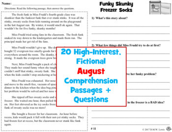 20 August Reading Comprehension Passages: Summer Reading Comprehension