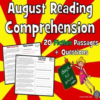 20 August Reading Comprehension Passages: Back to School Reading Comprehension