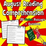 20 Back to School Reading: August Reading Comprehension: First Day of School