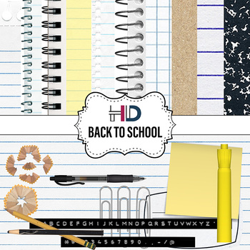 20 Back to School Digital Paper and Clip Art Elements