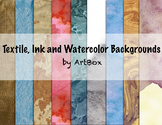20 Backgrounds-Digital Papers Ink, Fabric and Watercolor
