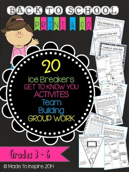 20 Beginning of the Year ICE BREAKERS and ACTIVITIES