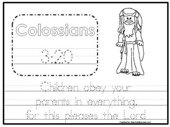 20 Bible Verse Tracing Worksheets. Preschool-Kindergarten Bible Curriculum.
