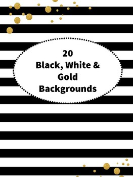 20 Black, White and Gold Backgrounds or Digital Paper