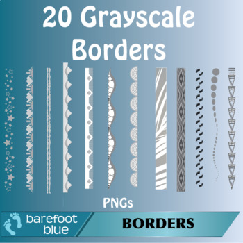 20 Black and White/Grayscale Abstract Borders (PNG)