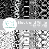 20 Black and White Patterns Digital Paper
