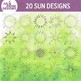 20 Simple Suns for clip art or classroom projects