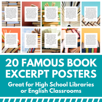 High School Posters - 20 Book Quote Posters - Famous Book Excerpts