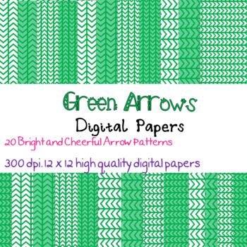 20 Bright Green Arrow patterned digital papers