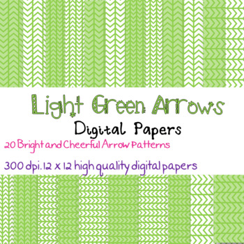 20 Bright Light Green Arrow patterned digital papers