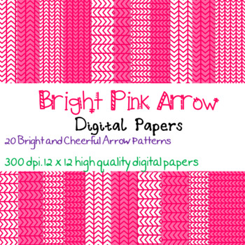 20 Bright Pink Arrow patterned digital papers