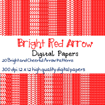 20 Bright Red Arrow patterned digital papers