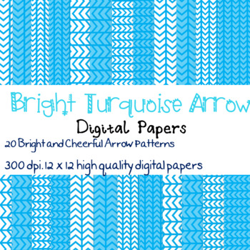 20 Bright Turquoise Arrow patterned digital papers