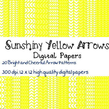 20 Bright Yellow Arrow patterned digital papers