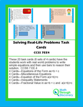 20 CCSS 7.EE.4 Task Cards