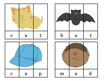 20 CVC Short Vowel Picture Puzzles