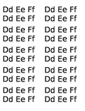 20 Capital and lowercase letters Dd-Ff