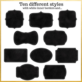 20 Chalkboard Digital Labels Clip Art. With and without white borders.