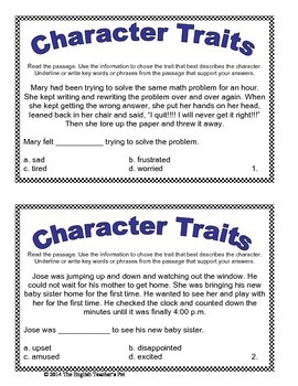 20 Character Traits Task Cards