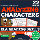 ANALYZING CHARACTER TRAITS ELA Reading Comprehension Practice Worksheets (x20)