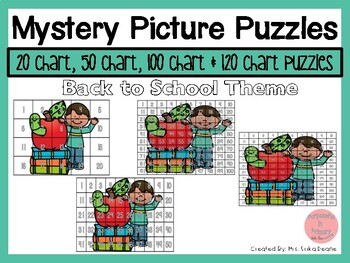 Back to School 20 Chart, 50 Chart, 100 Chart Mystery Picture Puzzles